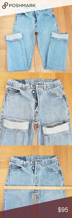 """Levi's 501 vintage USA♥ buttonfly jeans Labeled as 31x36...however I list them by their actual hand measurement due to vintage sizing and shrinkage...these hand measure at a little over a 28"""" waist , inseam 34"""" , 100% cotton, made in the USA, check out my closet for more vintage jeans listings..over 100 pieces in my closet♥ Levi's Jeans"""