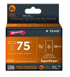 Arrow Fastener 7514S 7/8-Inch T75 Staples (1,000-Pack) by Arrow. $9.18. From the Manufacturer                Arrow's 7/8-inch T75 Staples are UL and c-UL listed.  These staples have a leg length of 7/8-inches and fit the T75 wire and cable staple gun.                                    Product Description                7514S Features: -Staples.-For fastening wires up to 1/2''.-Fits the T75.-22mm.-7/8''.-1,000 per pack.-Carded.. Save 29% Off!