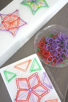 Star shaped geoboard made on a piece of styrofoam and loom bands for STEAM…