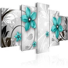 Artgeist - Tableau Frivolous turquoise Taille L 100 x H 50 cm Multi Canvas Painting, Multiple Canvas Paintings, Multi Canvas Art, Daisy Painting, Large Canvas Wall Art, Diy Canvas, Wall Art Sets, Wall Art Prints, Canvas Prints