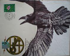 Bic Biro drawing on Vintage envelope Art Print by Mark Powell Bic Biro Drawings Illustrations, Illustration Art, Mark Powell, Biro Drawing, Macao, Envelope Art, Rabe, Dog Coats, Mail Art