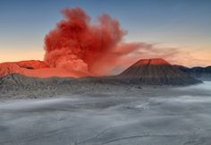 Red smoke over Mount Bromo, Indonesia  -- Your Shot. NATIONAL GEOGRAPHIC.