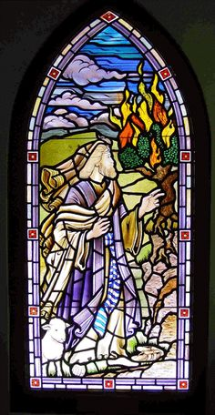 Shows Moses seeing God in the burning bush   ... CANADA CONGREGATIONAL UNITED CHURCH OF CHRIST - Stained Glass Windows