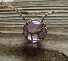 Amethyst  Necklace  Pendant  Sphere  Orb  by TheTreeFolkHollow, $17.00