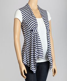 Take a look at this Navy Stripe Layered Maternity Top - Women by Mom & Co. on #zulily today!