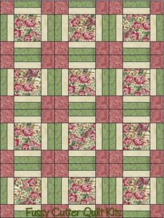 Dusty Rose Cabbage Roses Cream Sage Floral Flowers Shabby Chic Fabric Easy Pre-Cut Quilt Blocks Top Kit