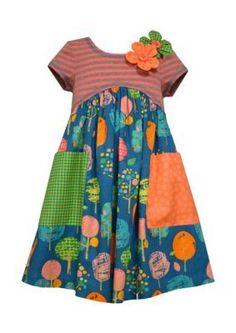 Bonnie Jean  Tree Mixed Media Dress Girls 4-6x