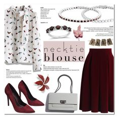 """Fall Trend: Necktie Blouse"" by blossom-jewels ❤ liked on Polyvore featuring Chicwish, Wet Seal, contestentry, necktie and Blossomjewels"