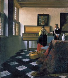 Lady at the Virginals with a Gentleman (early 1660s). Johannes Vermeer (Dutch, 1632-1675). Oil on canvas. Royal Collection Trust. Light fills the room, casting only soft, subtle shadows. The mirror on the wall reflects the young woman's face, part of the table and the legs of an artist's easel. The implication of this glimpsed easel is that Vermeer shares the same space as the figures he is depicting, but he is also standing outside that space.