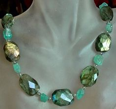 Colorful Labradorite Necklace c/w Kyanite and by camexinc on Etsy, $45.00