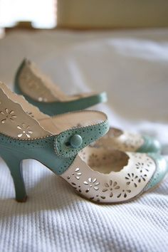 Pastel blue and cream retro mary jane pumps