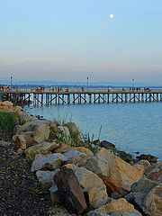 Moon Rise Over the Pier by Betty Johnston Mc G, Moon Rise, Rock, Locks, Rock Music, Stone, The Rock, Stones
