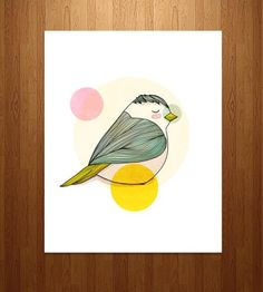 This illustrated pen and ink print features a sweet little bird, looking cozy, colorful and perhaps a little smug. We'll let you be the judge of that.