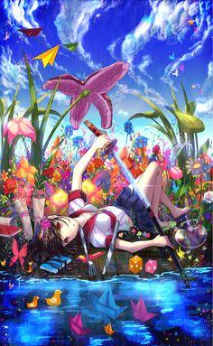 ✮ ANIME ART ✮ sword. . .katana. . .wweapon. . .school uniform. . .seifuku. . .flowers. . .water. . .clouds. . .fantasy world. . .cute. . .kawaii