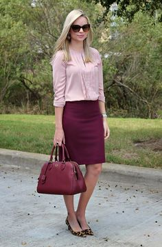 To work, pair a burgundy pencil skirt with a blush blouse for a romantic and feminine look.