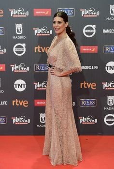 """Best actress nominee Colombian actress Angie Cepeda poses on the red carpet during the 4th edition of the """"Premios Platino"""" for Ibero-American Cinema awards ceremony in Madrid on July 22, 2017. / AFP PHOTO / PIERRE-PHILIPPE MARCOU"""