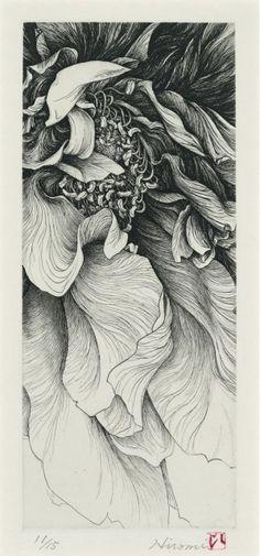 "Hiromi Miura ""Flower"" 2005  etching // 26cm x 11cm"