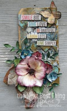 Gorgeous tag by Lynne Forsythe from Petaloo using Penny Lane collection flowers and Simple Stories Vintage Bliss collection. Awesome Team up!