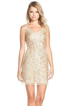 Adrianna Papell Sequin Tulle Sheath Dress