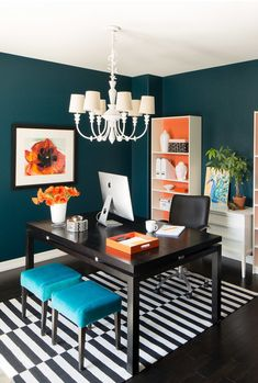 Copy Cat Chic Room Redo | Colorful Office