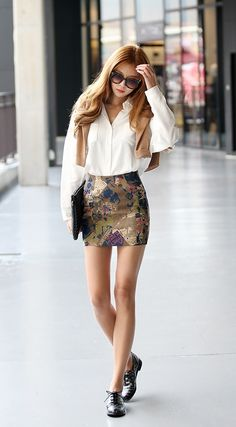 Simple white blouse with skirt