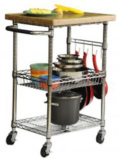 Trinity Bamboo Wood Stainless Steel Rolling Kitchen Cart Island Ecostorage
