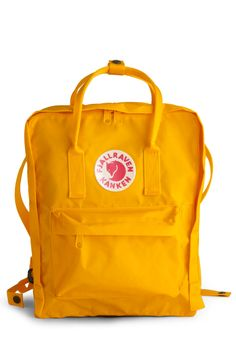 Wherever You Wander Backpack in Sunshine: Wherever your journeys take you travel stylishly with this sleek and simple yellow backpack by Swedish company Fjllrven! Founded in 1960 Fjllrven is named aft… Tween Backpacks, Unique Backpacks, Cute Backpacks, Mochila Tote, Fjallraven, Yellow Backpack, Vintage Bags, Retro Vintage, Gina Tricot