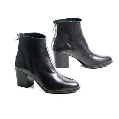 Olivia, Black Mid-Heel Ankle Boots | Autograf New York