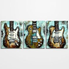 Guitar painting Music Art Gift for Musician Les Paul, Original textured guitar painting on canvas by Magda Magier