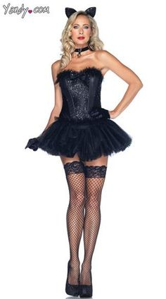 Black Cat Babe Costume - The four-piece, Black Cat Babe costume includes a black sequin corset, matching tutu skirt, tail, choker and ear headband. (Stockings, shoes and gloves not included.)