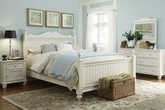 Cottage Bedroom - traditional - bedroom - Legacy Classic-Sherwin Williams Tradewind! Love the colors