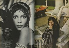 Photographs of Mia Farrow as Daisy from the set of The Great Gatsby by Lord Snowdon. Scanned from Vogue UK, March 15, 1973.