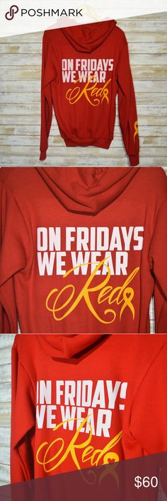On Fridays We Wear Red Military Support Sweater Military Support Red Zip Up Sweater. Perfect for military moms, wives, family members, veterans pr active duty. Retail is $75. Price is firm unless bundled. Sweaters