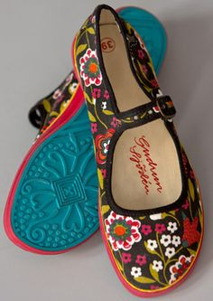 """Hedvig"" fabric mary janes with turqoise sole"