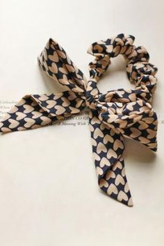 Sweetheart Forever Heart Pattern Chiffon Bow Hair Scrunchie in Navy/Pink | Sincerely Sweet Boutique