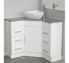 Photo Of Could work in the bathroom it would give more space Corner Caesarstone top vanity