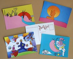 PETER MAX poster 4 vintage post cards 60s Psychedelic Pop Art retro paint pino #PopArt