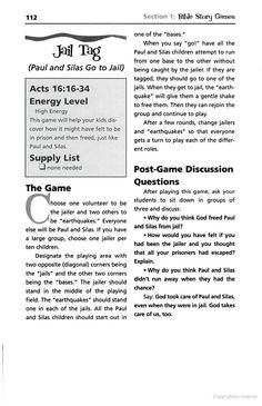 The Encyclopedia Of Bible Games For Children's Ministry - Paul and Silas game
