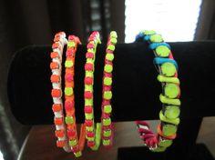 Rainbow Neon Handpainted Rhinestone Bangle