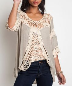 Boho Chic Tunic Top Crocheted Lace Front Mocha