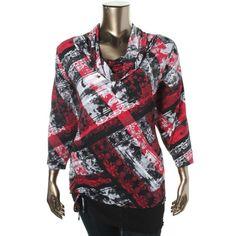 Style & Co. Womens Plus Knit Cowl Neck Blouse