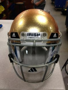 "ND Helmet. Like the Irish? Be sure to check out and ""LIKE"" my Facebook Page https://www.facebook.com/HereComestheIrish Please be sure to upload and share any personal pictures of your Notre Dame experience with your fellow Irish fans!"