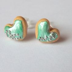 Minty Green Sugar Cookie Earrings  Mint and by PitterPatterPolymer