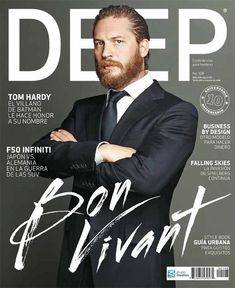 """This magazine cover looks like it may have only one font. It just has different variations of it. Also this magazine must be well known because of Tom Hardy's head is covering the word """"deep"""""""