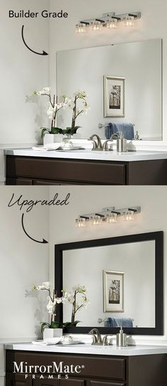 Here's an easy upgrade for a builder basic wall mirror - add a custom MirrorMate frame directly to the mirror while it's on the wall.   65 frame styles at www.mirrormate.com.:
