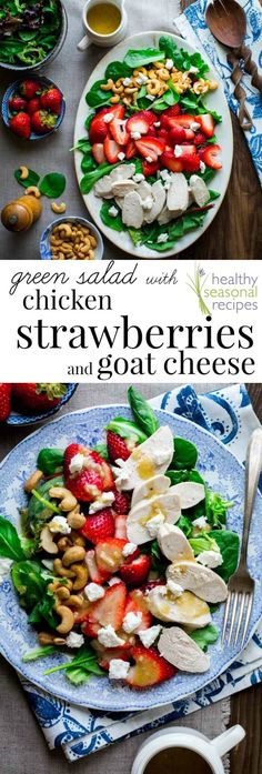 You'll want to dive into this High Protein Green Salad with Chicken, Strawberries and Goat Cheese. It's drizzled with healthy cider vinegar salad dressing and has crunchy cashews too! #highprotein #grainfree #strawberries #salad #saladmonth #chicken #spring #summer #berries #glutenfree #primal