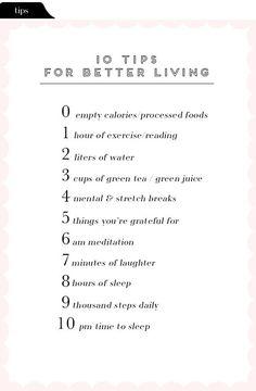 Tips for Better Living