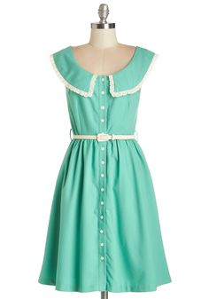 Perfect Pastures Dress. This ModCloth-exclusive dress from Myrtlewood, with its calming shade of green and flower-shaped buttons, invites serene images of perfectly manicured pastures. #mint #modcloth