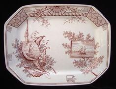 Large Oceanic Brown Aesthetic Transfer Platter ~ SEAWEED 1884 #AestheticMovement