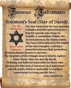 Book of Shadows: Famous Talismans ~ Solomon's Seal (Star of David) page. Magic Symbols, Sacred Symbols, Ancient Symbols, Magick, Witchcraft, King Solomon Seals, Solomons Seal, Demonology, Star Of David